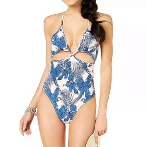 MINKPINK Hibiscus Island Cutout One Piece Swimsuit
